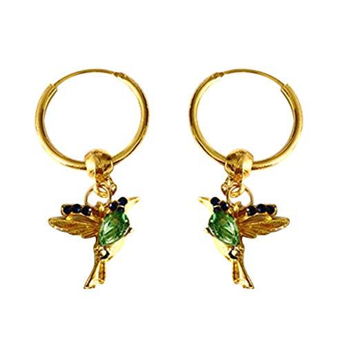 Janly Clearance Sale Pendientes para mujer, diseño de colibrí de circón, colgante largo con cadena para mujer, regalo de cumpleaños para damas y niñas (verde)