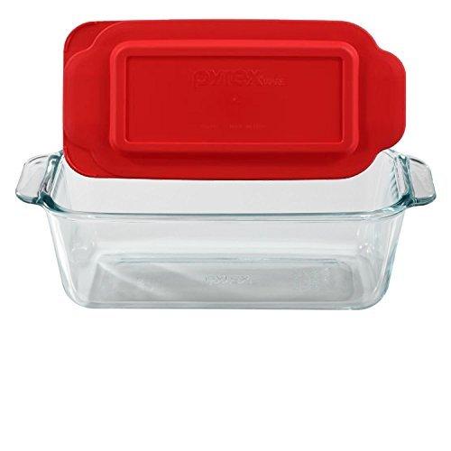 Pyrex Basics 1.5 Quart Loaf Dish - Plato con tapa de plástico roja