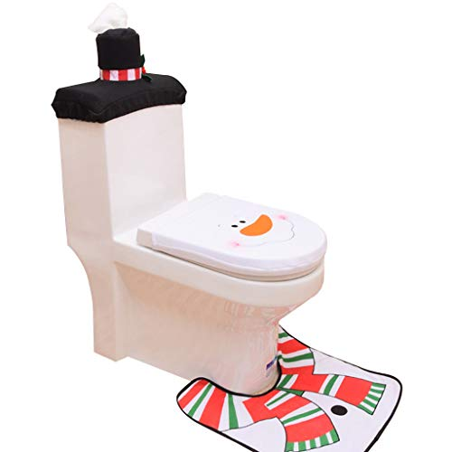 Fineday 3PC Christmas Closestool Cover Santa Claus Toilet Seat and Tissue Cover Set, Home Decor for Christmas Day (WH)