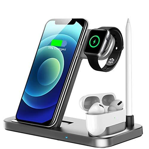 LECHLY Kabelloses Ladegerät,4 in 1 Induktive ladestation für Apple Watch 6/5/4/3,Airpods Pro,iPhone 12/SE 2020/11/X/XR/Xs Max/8,Samsung Galaxy S20/S10(Grau)