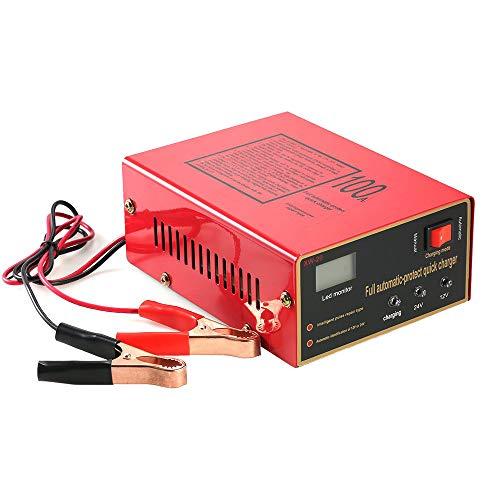 Charger-Ejoyduty Volautomatische intelligente autoacculader, 12 V, 24 V, 100 Ah, 10 A impulsreparatie, voor auto, boot, grasmaaier, camper, loodzuuraccu