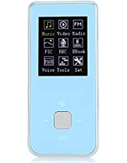 sjlerst Reproductor de música MP3 Pantalla a Color de 1,8 Pulgadas Mini Reproductor de Audio Digital MP4 Compatible con hasta 32G(Blue)