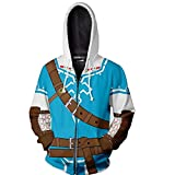 Nsoking The Legend of Zelda Cosplay Costume Breath of The Wild Link 3D Printed Cosplay Thin Coat Sports Jacket (Small, Blue)