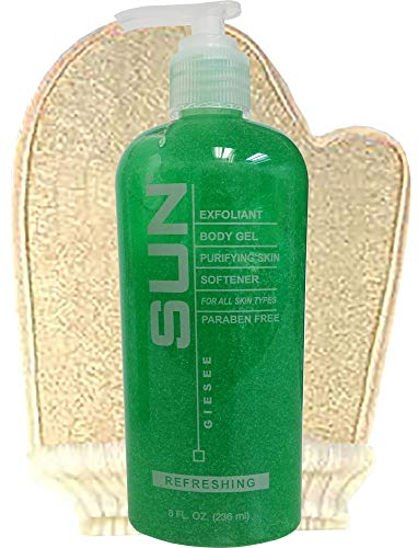 Sun Laboratories - Loofah Sponge Mitt with Exfoliant Body Gel Purifying Skin Softener - Purifying Body Cleansing Gel Skin Softener - 8 fl oz | Cleanse Your Body And Face | For Normal To Oily Skin