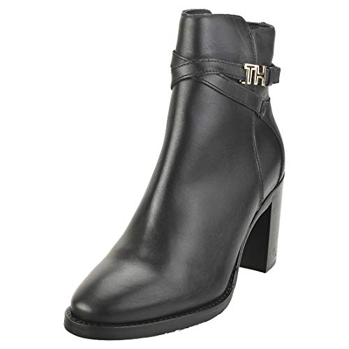 Tommy Hilfiger TH Hardware Leather High Bootie, Botines para Mujer, Black 990, 40 EU