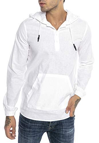 Redbridge Sweat à Capuche Chemise en Lin pour Homme Tunik-Hooded Blanc XL