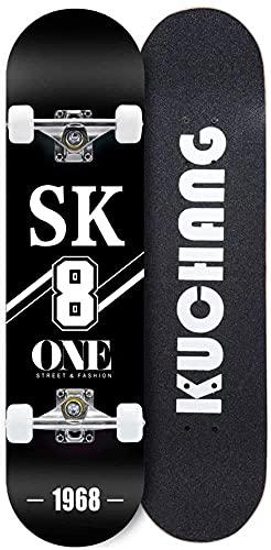 LITINGT Tabla Completa de Skateboard 31 Pulgadas x 8 Pulgadas Understanding Cruiser Trick Skate Board Cubierta cóncava Profesional de Doble Patada Madera Natural Carga máxima 330 Libras
