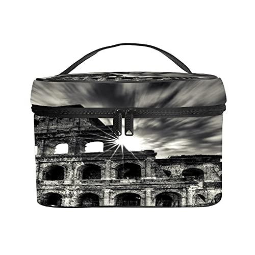 CIKYOWAY Trousse de Maquillage Portable,Colisée Rome Italie,Portable pour Cosmétique Trousse/Organisateur/Sac de Toilette 25×18×15cm