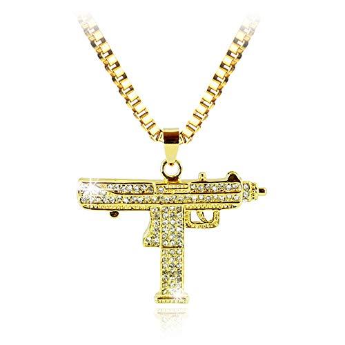 N/A halsketting met pistool hanger voor heren sieraden hip hop kleur goud / zwart legerstijl mode ketting heren