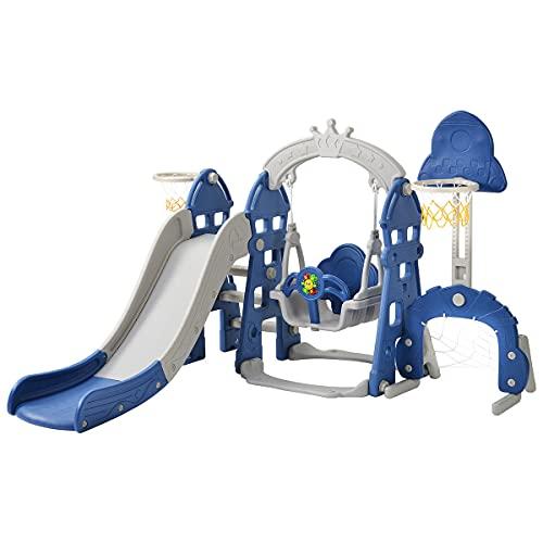 Columpio de jardín para niños, tobogán para niños 5 en 1 con columpio y aro de baloncesto, juego de toboganes para niños de 3 a 6 años, tobogán para el hogar,Blue