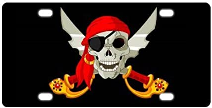 Pirate Skull With Crossbones Pattern Durable And Strong Aluminum Car License Plate 12