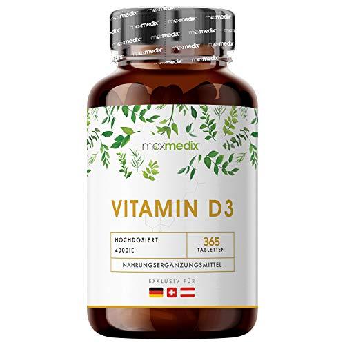 EINFÜHRUNGSPREIS 2020 - Premium Vitamin D3 Tabletten - 4000 I.E. (1 Tablette alle 4 Tage) - 365 Stk. Hochdosiert & Laborgeprüft in Deutschland - 100% reines Cholecalciferol Vit D - Für Jung & Alt