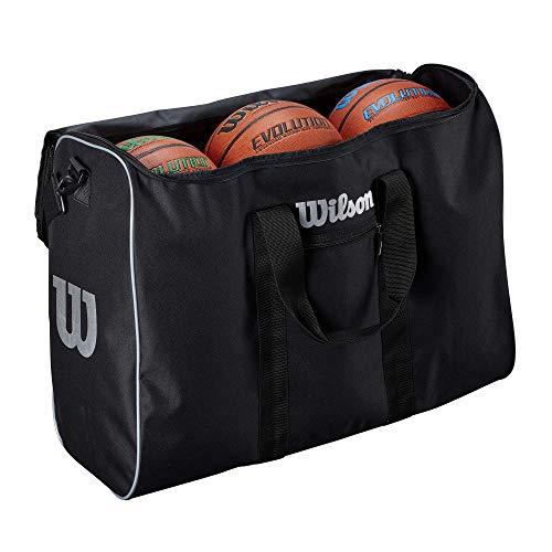 Wilson 6 Ball Travel Bag, WTB201960 Borsa da Viaggio per Palloni da Basket, 3 Scomparti per 6 Palloni e Attrezzatura, Tasca Esterna, Tracolla per il Trasporto