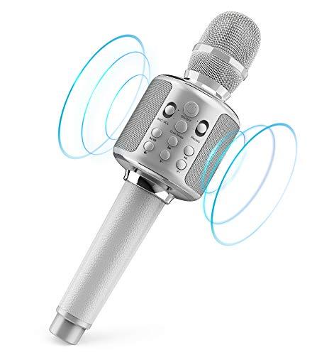 Micrófono de karaoke Bluetooth para niños, micrófono de karaoke con altavoz, compatible con Android/iOS (blanco)