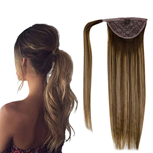 """LaaVoo 22"""" Remy Straight Ponytail Hair Extensions Balayage Ombre Color Dark Brown Fading to Caramel Blonde Wrap Around Real Hair Extension Brazilian Human Hair Extension 100g (#4/27/4)"""