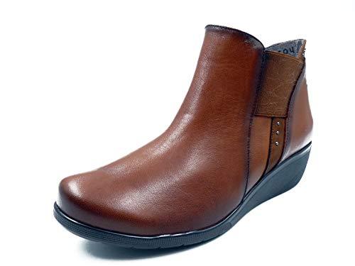 F0228-91 FLUCHOS-Femme Bottines confortables en cuir Couleur Cale 4 cm - Marron - Cuir, 35 EU EU