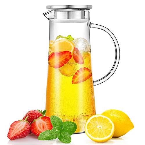 CNNIK Jarras de Cristal, 1.5L Jarra de Vidrio para Agua con Tapa, Jarra de Agua de Vidrio, para Agua Caliente/fría, té Helado y Bebidas de Jugo Jarra