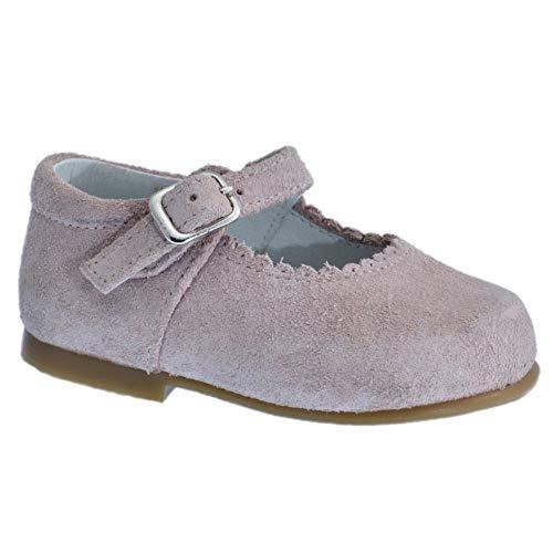 Guxs Zapato Merceditas Niña Piel Serraje Rosa Color: