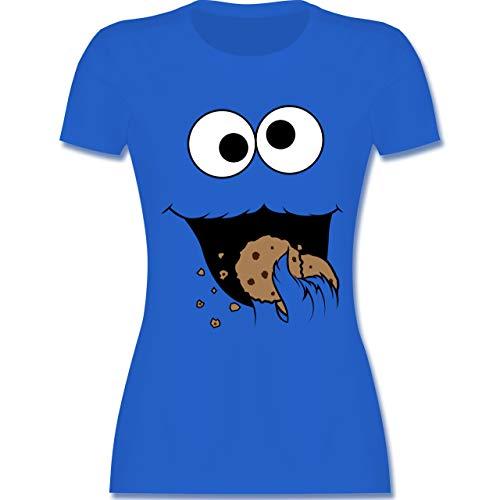 Karneval & Fasching - Keks-Monster - XXL - Royalblau - L191 - Damen Tshirt und Frauen T-Shirt