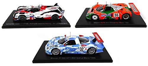 - Lotto di 3 Auto Le Mans Spark 1/43 per Hachette Japon: Toyota TS050 2017 + Mazda 787B 1991 + Nissan R390 1998 (01 + 02 + 05)