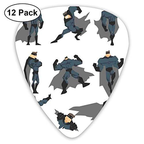 Gitaar Picks12 stks Plectrum (0.46mm-0.96mm), Leuke Cartoon Man In Kostuum Posing Hero Flying Running Met Superpowers Art Print,Voor Uw Gitaar of Ukulele