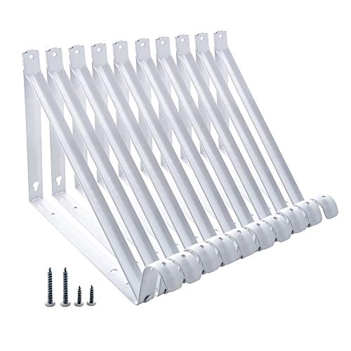 Home Master Hardware Heavy Duty Shelf Rod Support Bracket Wall Mounted Shelf Supports Closet Brackets White with Screws 10-Pack