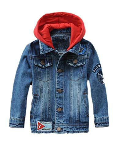 Mallimoda Chaquetas de mezclilla con capucha, Cierre de cremallera con botones decorativos, con dos bolsillos laterales para Niños