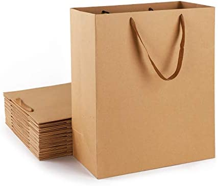 Shopping Bags with Handle Eusoar 20Pcs 13x6x15 Kraft Paper Bags with Ribbon Handles Kraft Craft product image