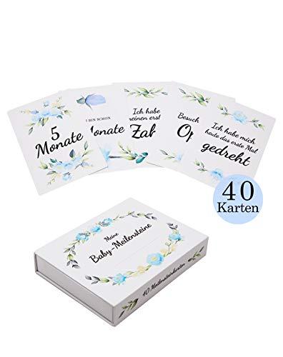 Amae | Baby Meilensteinkarten | 40 Karten | Geschenk zur Geburt, Babyparty & Schwangerschaft | Geschenkset mit Fotokarten für Kinder | Milestone-Cards | Geschenkbox für Mädchen & Junge (Blau)