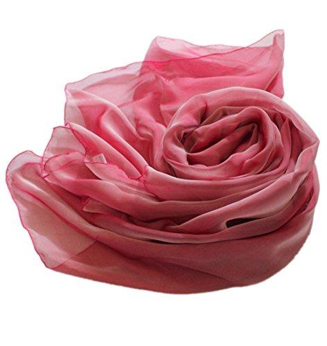prettystern – Stola Pura Seta Foulard Sfumature Bicolori Seta Donna Scialle Elegante Abito da Ser Rosso Rosato