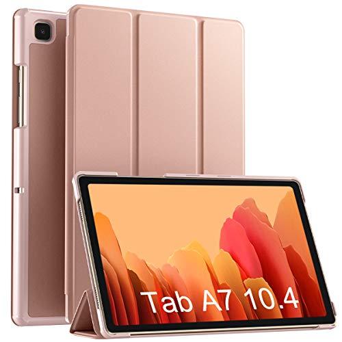 Vobafe Hülle Kompatibel mit Samsung Galaxy Tab A7 10.4 Zoll 2020 (SM-T500/T505/T507), Ultra Schlank PU Leder Hülle mit Ständer PC Rückseite Abdeckung Schutzhülle, Auto Schlaf/Wach, Roségold