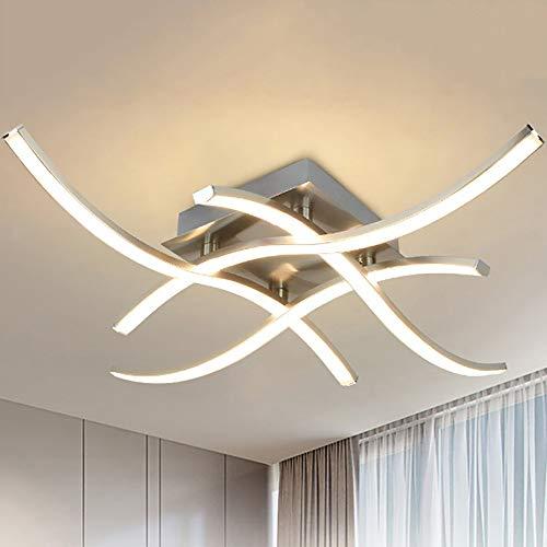 PADMA LED Deckenleuchte Küche 18W, Modern Deckenlampe Whonzimmer Warmweiß, 3000k, 4 * 4.5W, 1650LM, Metall Chrom Deckenleuchte für Esszimmer, Schlafzimmer, Wohnzimmer