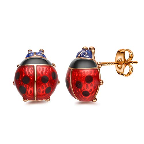 Stud Earrings, Red Ladybug Black Spots 18K Gold Plated 925 Sterling Silver Post Stud Earrings for Women and Girl