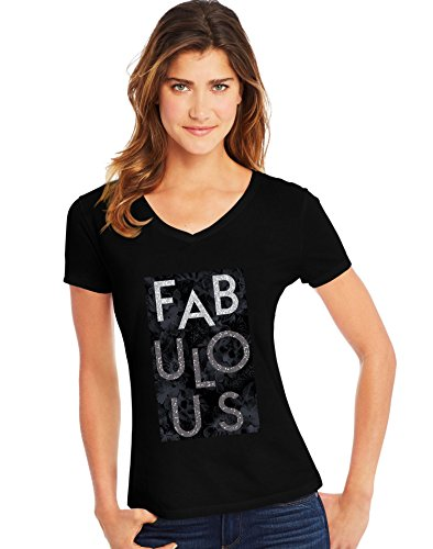Hanes Women's Short Sleeve Graphic V-neck Tee (multiple graphics available), Fabulous/Black, Small