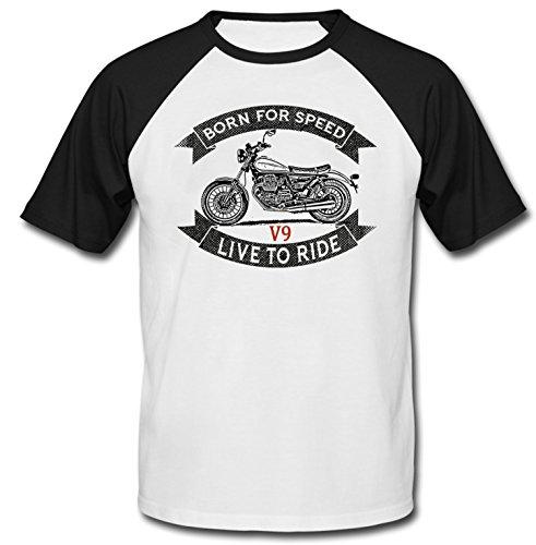 TEESANDENGINES Men's Moto Guzzi V9 Black Short Sleeved T-Shirt Size Medium