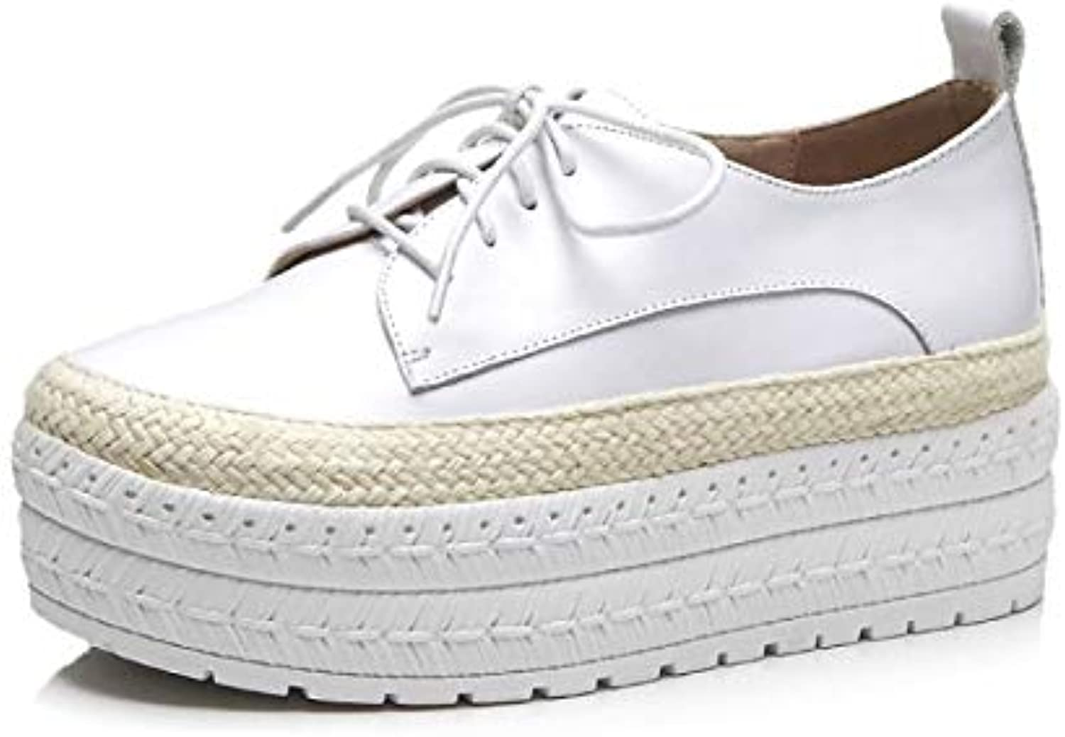 Women's shoes Nappa Leather Fall & Winter Comfort Sneakers Creepers White Black   Pink