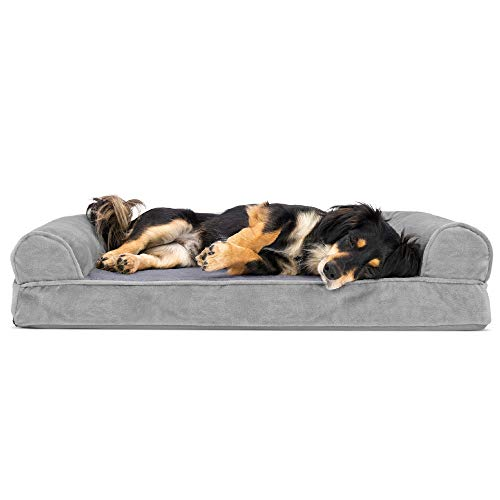 Furhaven Pet Dog Bed - Orthopedic Faux Fur and Velvet Traditional Sofa-Style Living Room Couch Pet Bed with Removable Cover for Dogs and Cats, Smoke...