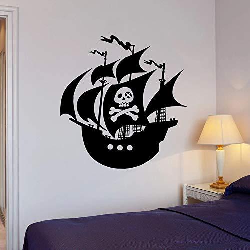 Piratenschiff Art Decal Meer Ozean Abenteuer Cartoon Seeleute Segelboot Schädel Tür Fenster Vinyl Wandaufkleber Kinder Jungen Schlafzimmer Kinderzimmer Dekor Wandbild