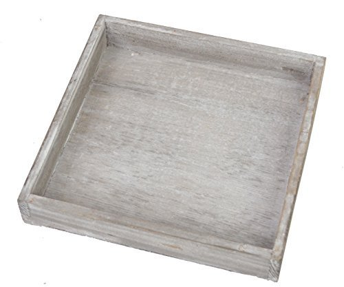 CHICCIE Vintage Deko Tablett - Grau 25 x 25cm Quadratisch - Shabby Chic Dekotablett Kerzenteller Kerzentablett