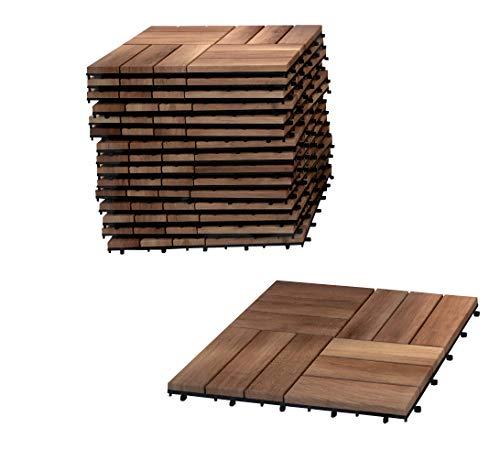 SAM Terrassen-Fliesen 05, Akazien-Holz, 9er Spar-Set, 30x30cm, Klickfliese, Bodenbelag mit Drainage
