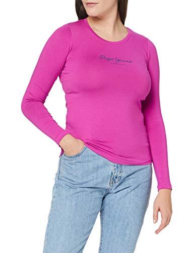 Pepe Jeans New Virginia LS Camiseta, Rosa (Pink 389), Medium para Mujer