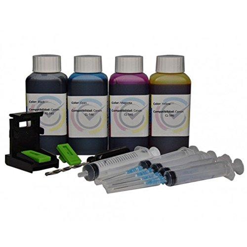 Кit ricarica cartucce PG-545 CL-546 nero e colore, Inchiostro Inktec 400ml di altà qualità + refill clip per stampante PIXMA MG2450