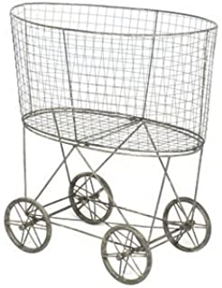 Creative Co-op Vintage Metal Laundry Basket with Wheels