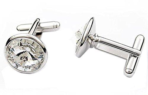 GuDeKe Accessoires Cristal Boutons de Manchette autrichienne Homme (Blanc)