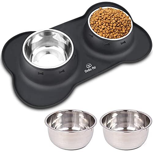 DoSa rutschfeste Silikonmatte in schwarz mit 4x850ml Bowl Schüssel aus Edelstahl, Fressnapf für Hund, Hundezubehör, Futternapf, Napfunterlage, matten mit Hundenapf, Dog Set, hundebar napfset