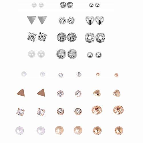 ZHjuju 24 Pares Pendientes de Perlas de Cristal, Chicas Arete,Conjunto de Joyas de Oreja Bonitas, aretes de Moda, aretes de Oro y Plata para niñas, Mujeres y Hombres,oyería con Tarjeta niñas