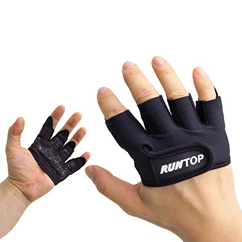 RUNTOP Workout Grip Gloves Crossfit WODS Fitness Gym Yoga Exercise Weight Lifting Powerlifting Bodybuilding Training Hand Palm Protect Men Women (Black, M)