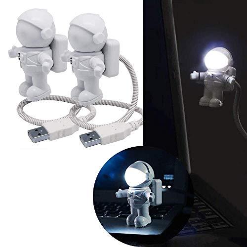 LLLKKK Pack de 2 luces LED de lectura para la lectura de tableta de ordenador portátil - Spaceman Luz USB LED flexible ajustable luz nocturna Mini astronauta lámpara de escritorio