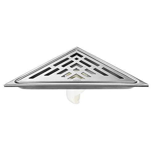 EXCLVEA Bodenablauf Badezimmer Corner Bodenablauf Edelstahl 304 Triangle Anti-Geruch für Garten Outdoor Küche (Color : Silver, Size : ONE Size)