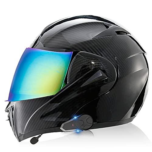 Casco de motocicleta integrado con Bluetooth, intercomunicador FM MP3 incorporado Sistema de comunicación para 2-3 personas Casco modular Casco de ciclomotor certificado ECE/DOTCM 9,S=55-56CM
